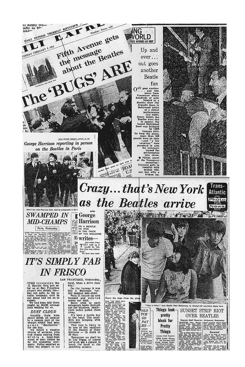 A collage of newspaper clippings about the Beatles arrival in the US in 1964